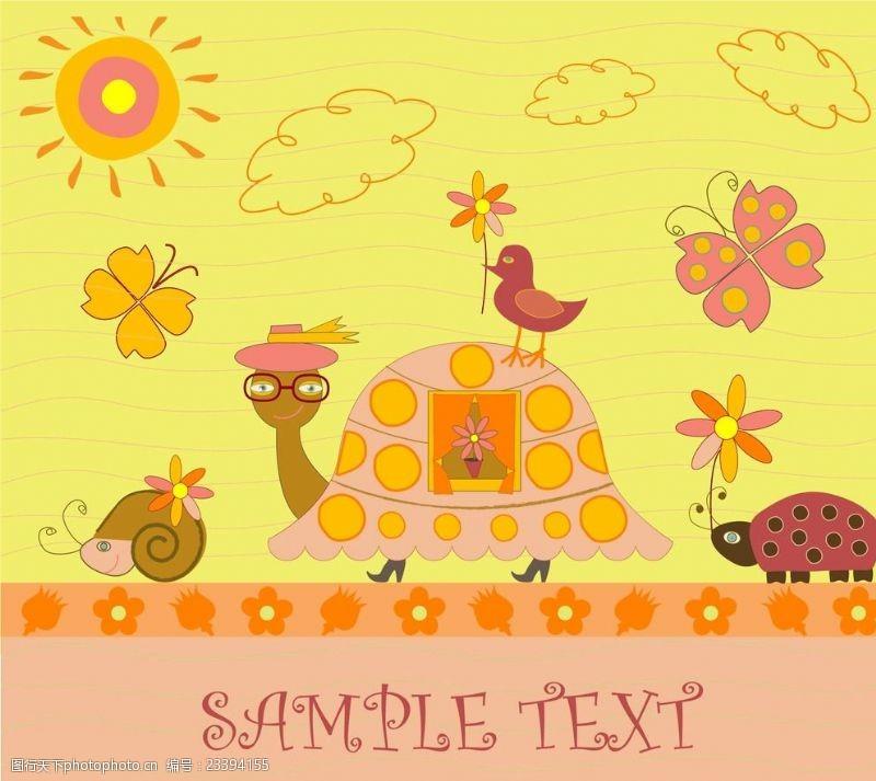 乌龟兔子动物可爱图片素材卡通有些拉稀图片