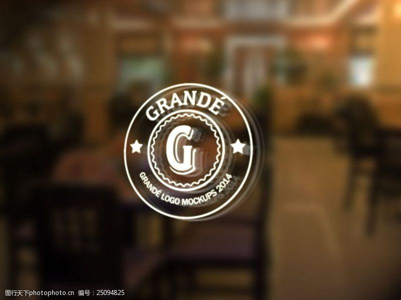 餐廳內玻璃logo樣機展示