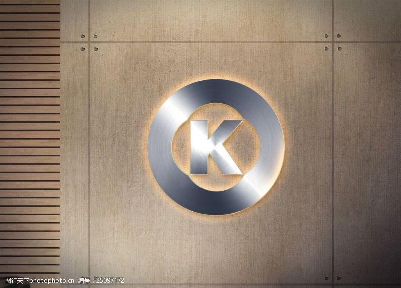 木紋墻壁logo樣機展示