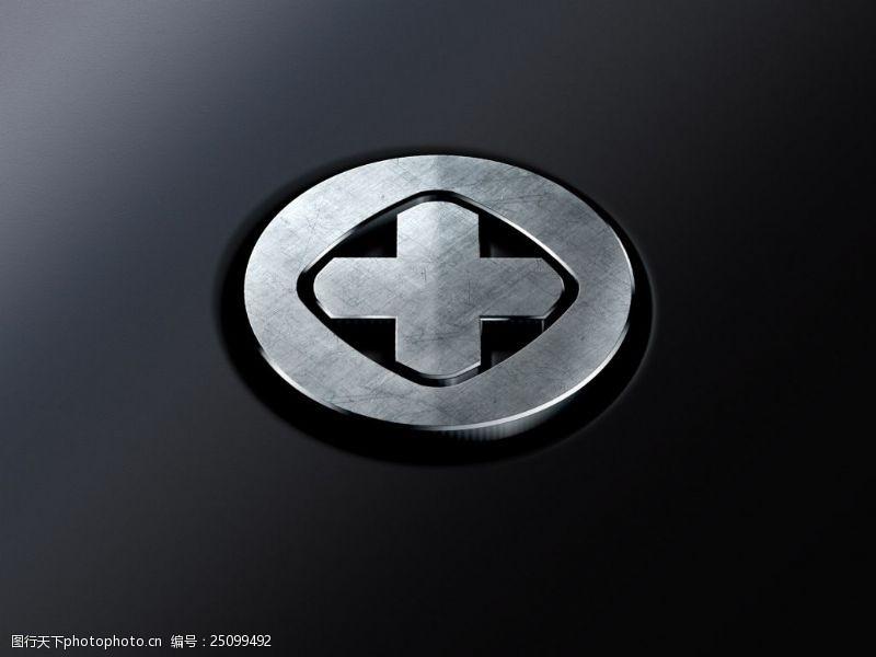 干凈背景金屬logo樣機展示