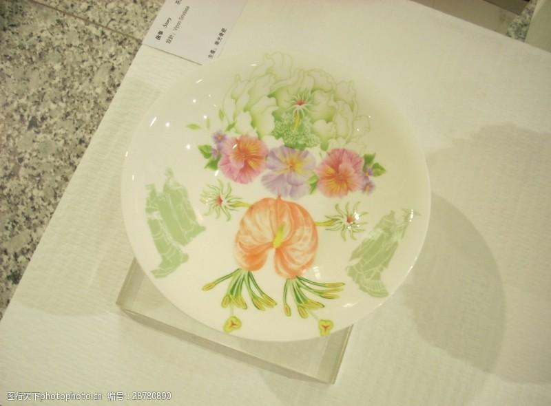 彩釉百花彩陶碗