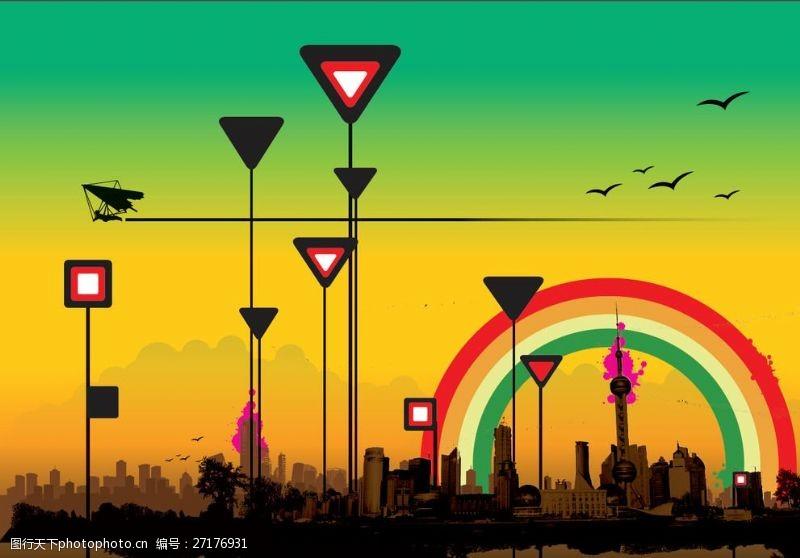 艺术天空傍晚的艺术海报