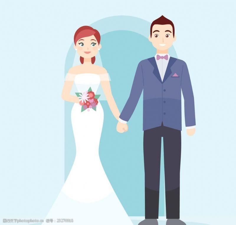 结婚婚纱礼服婚礼卡通人物