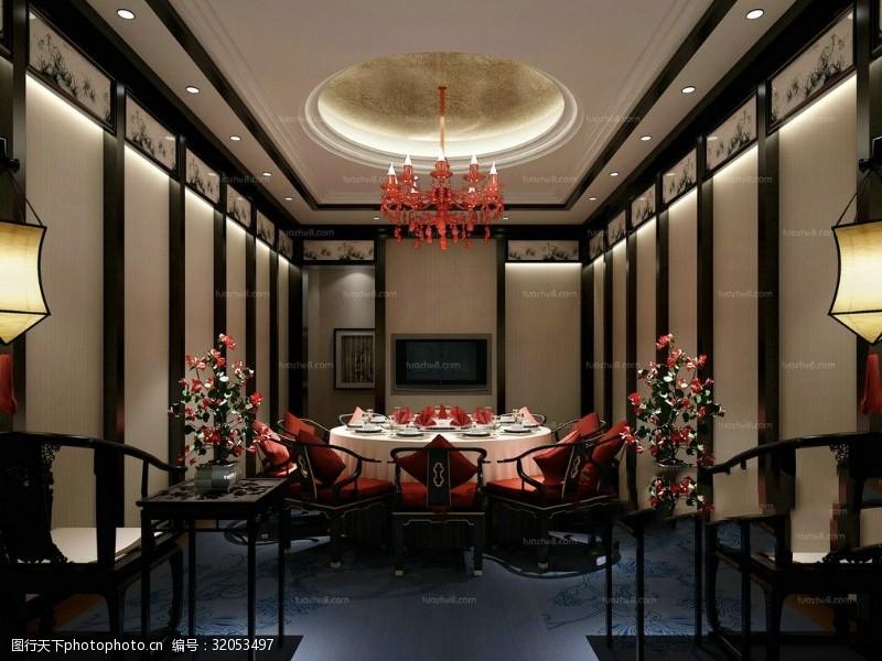 黑白红中式室内设计