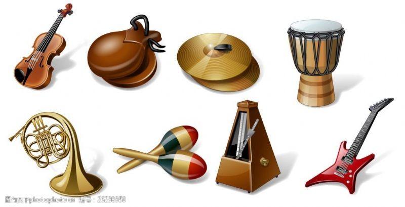 矢量电子琴8种乐器图标