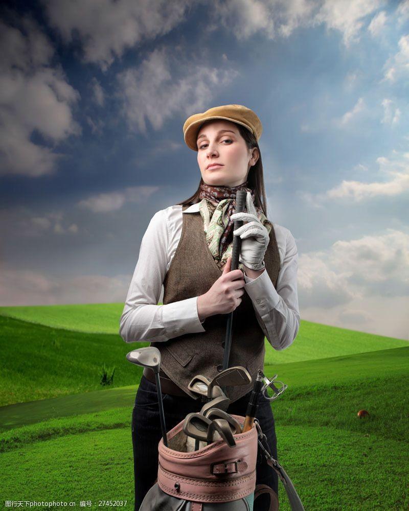 高尔夫挥杆高尔夫美女图图片