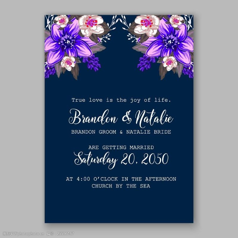结婚请柬元素盛开的紫色花朵婚礼请贴矢量素材