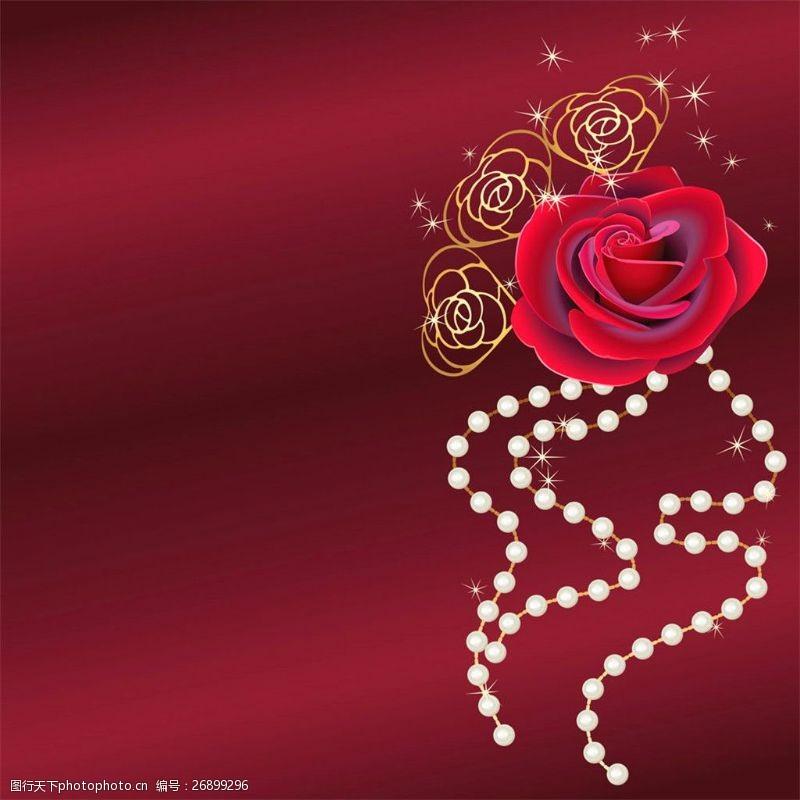 结婚请柬元素红玫瑰婚礼请帖设计图片