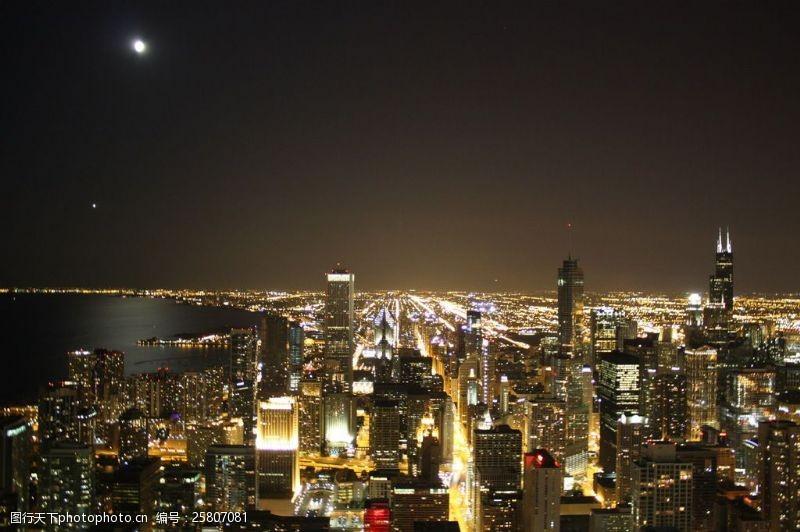 芝加哥夜景芝加哥城市夜景图片