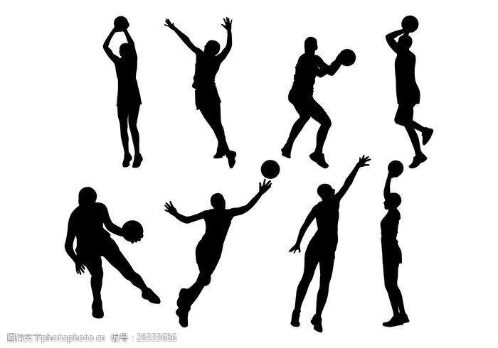 漫画体育免费的篮球运动员剪影矢量