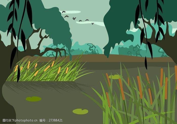 艺术天空自由沼泽插图矢量