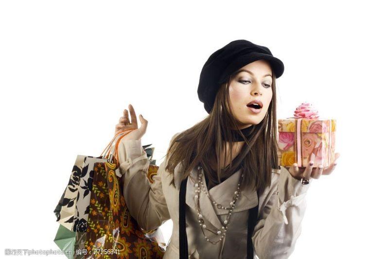 女性高清图片拿着礼品盒时尚购物美女图片