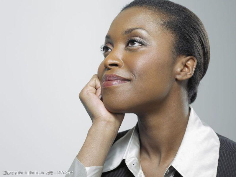 女性高清图片手托腮思考的商务女士图片