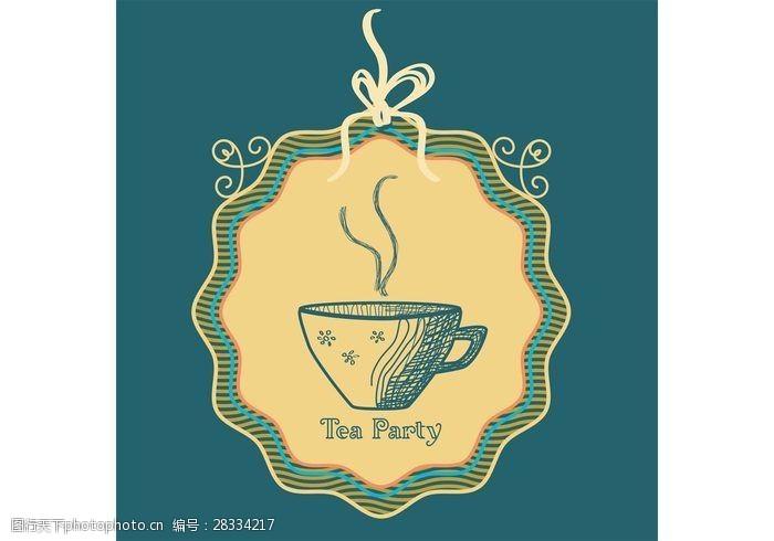 茶卡片勾勒茶杯矢量背景