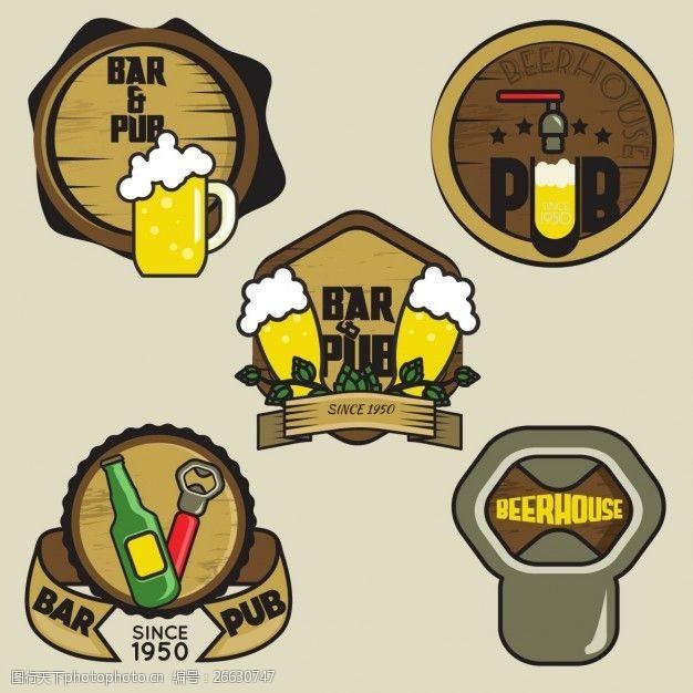 复古邮票手绘啤酒标志收藏