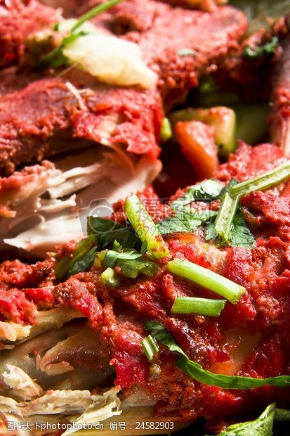 泥炉红红的肉食品