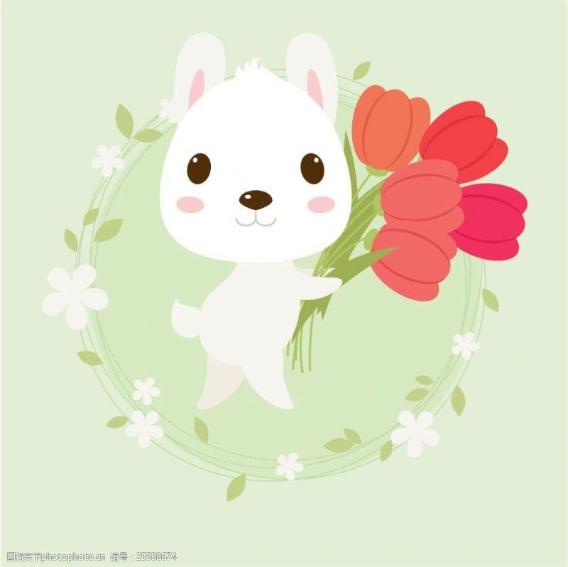 可爱卡通兔可爱卡通小白兔插画