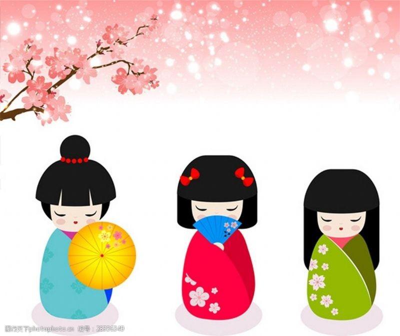女人矢量图日本樱花背景素材