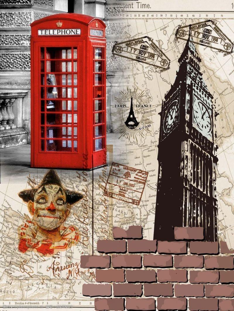 复古电话亭复古英伦风情