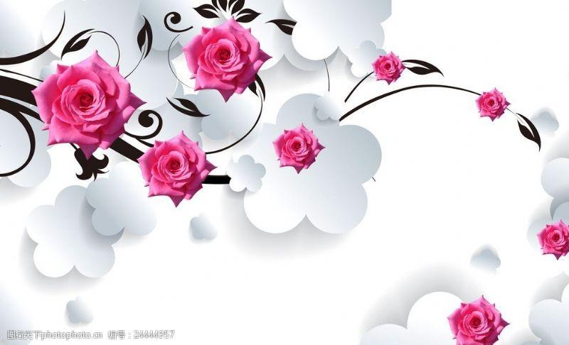 五叶草3d简约粉色玫瑰花藤