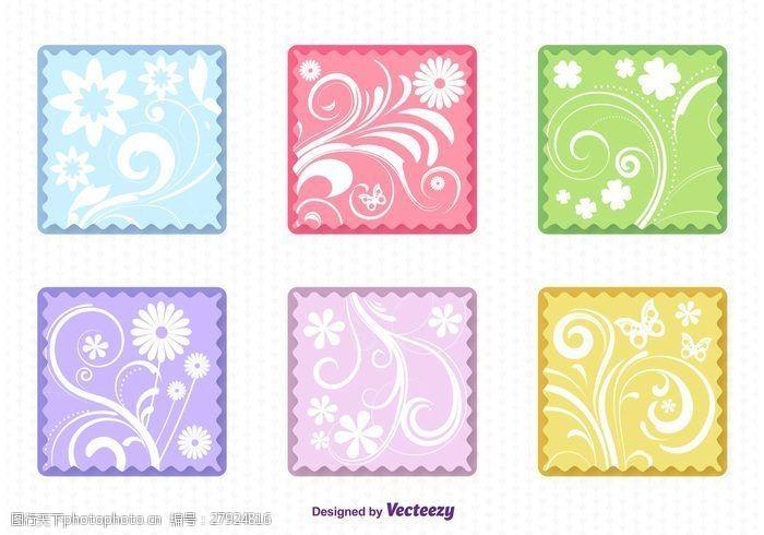 花卉邮票春季花卉平面标签