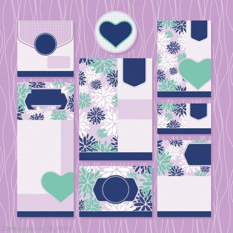 结婚请柬元素紫色背景花纹婚礼请贴矢量素材