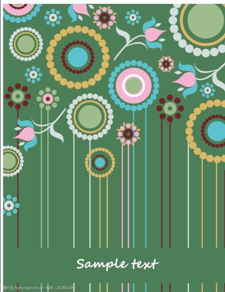 墨绿封面绿底板圆形小花卡通背景矢量素材