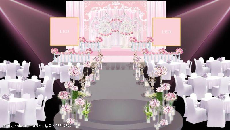 欧式舞台粉色舞台效果