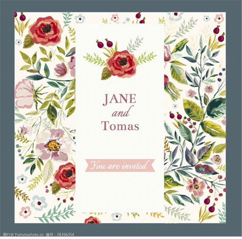 结婚请柬元素创意婚礼邀请函鲜花背景图片